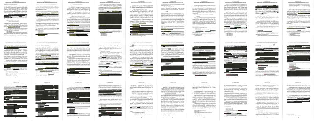 Redacted pages from the report