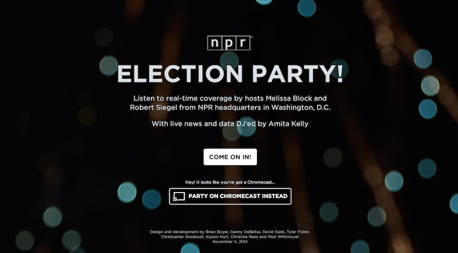 The NPR Election Party welcome screen